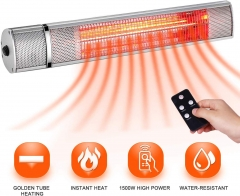 SURJUNY Electric Patio Heater, Indoor/Outdoor Wall-Mounted Patio Heater, Outdoor Heater with Remote Control, Golden Tube for Instant Warm, Super Quiet